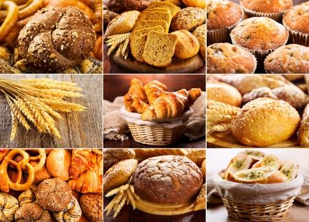 pasteles: collage de diversos pan fresco Foto de archivo