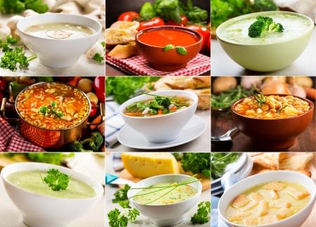 Collage aus verschiedenen Suppen Lizenzfreie Bilder
