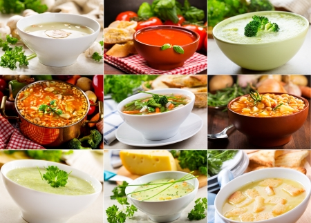 beans soup: Collage of various soups