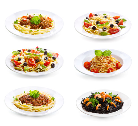 set with different plates of pasta and spaghetti on white background Standard-Bild