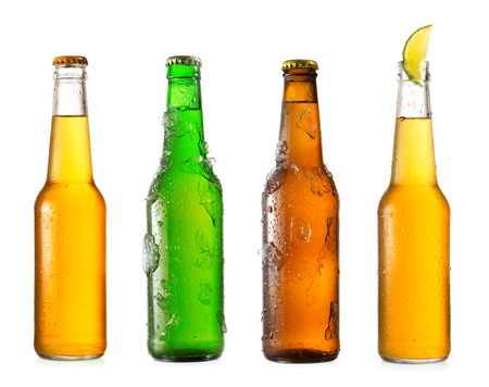 various  bottles of beer isolated on a white background Stock Photo