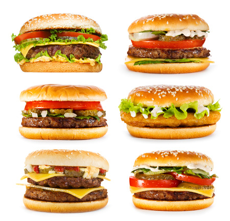 set of various hamburgers isolated on white background photo