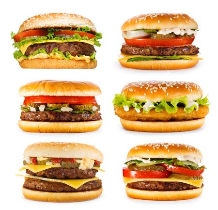 set van verschillende hamburgers op een witte achtergrond Stockfoto