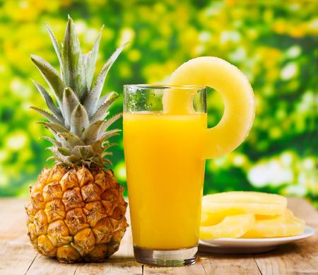 pineapple  glass: glass of pineapple juice with fresh fruits Stock Photo