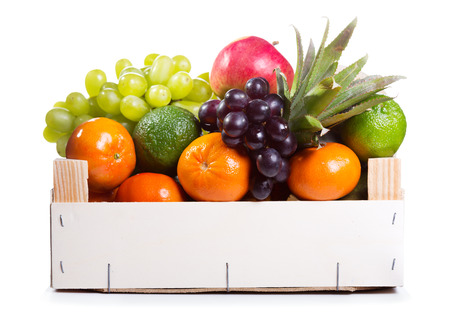 crate: fresh fruits in a box on white background