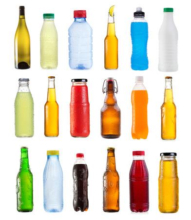 alcohol bottles: set of various bottles isolated on white background Stock Photo