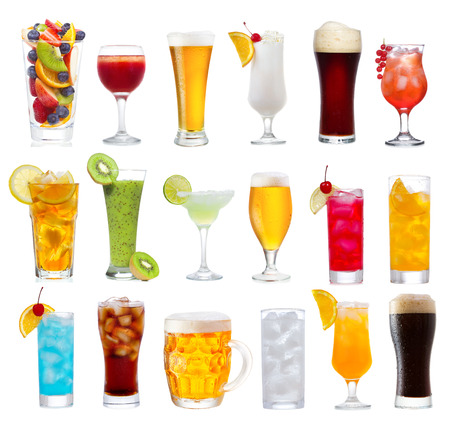 Set of various drinks, cocktails and beer isolated on white background photo