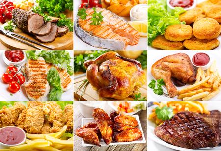 comida rapida: collage de diversos platos con carne, pescado y pollo