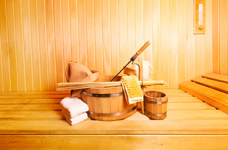 finnish: sauna accessories in wooden sauna Stock Photo