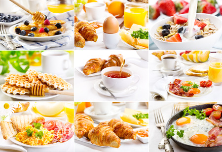 collage with healthy breakfast photo