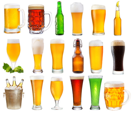 beer bucket: set with various glasses and bottles of beer isolated on white background  Stock Photo