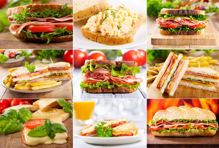 bacon and eggs: collage of various sandwiches Stock Photo