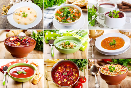 green bean: collage of various soups