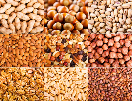 food still: collage of various dried nuts Stock Photo