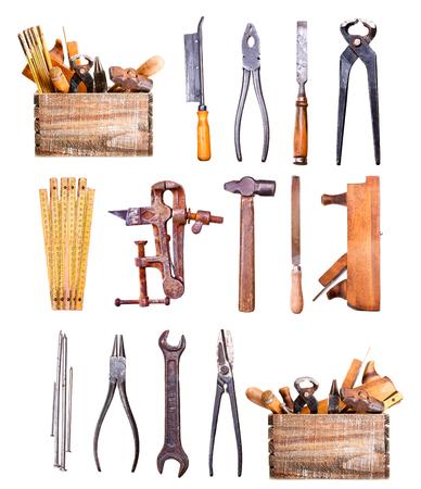 set of old tools isolated on white background photo