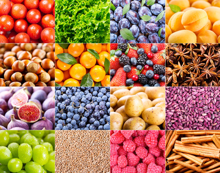 collage of various fruit, berries and vegetables photo