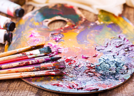 paint palette: paint brushes on a palette