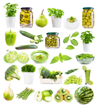 set with green food isolated on white background