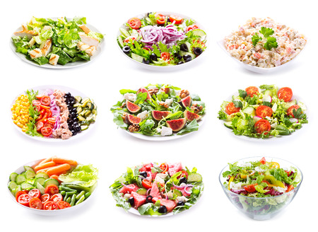 corn salad: set of various salads on white background