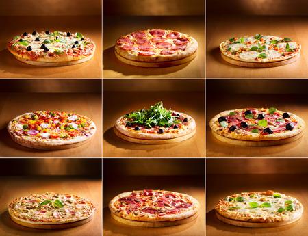 collage of various pizza Foto de archivo