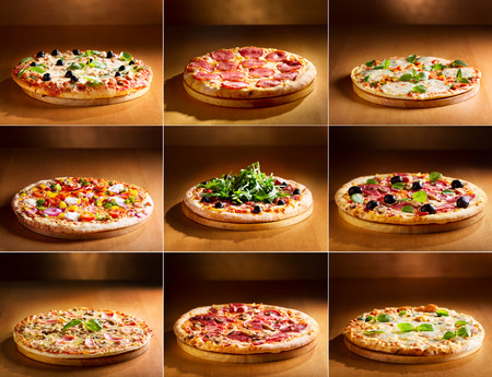 collage of various pizza Banco de Imagens
