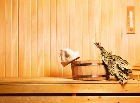 sauna accessories in wooden sauna Stock Photo