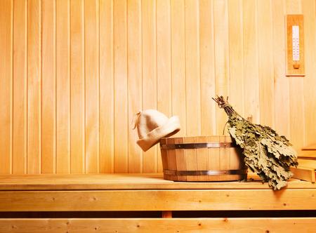 sauna accessories in wooden sauna Standard-Bild
