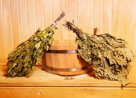 finland sauna: sauna accessories in wooden sauna Stock Photo
