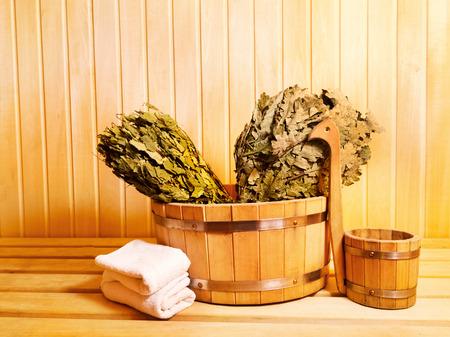 finnish bath: sauna accessories in wooden sauna Stock Photo