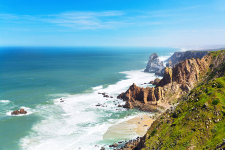 portugal: Atlantic ocean coast in Portugal Stock Photo