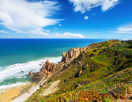 atlantic: Atlantic ocean coast in Portugal Stock Photo