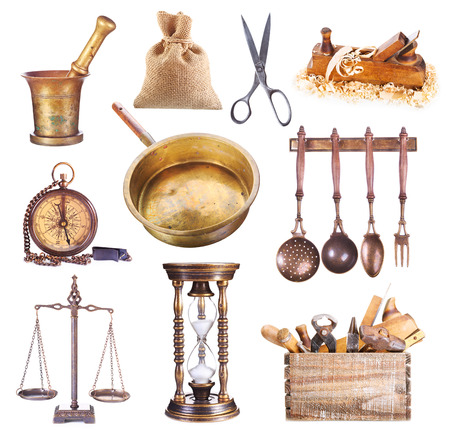 object: various vintage objects isolated on white background