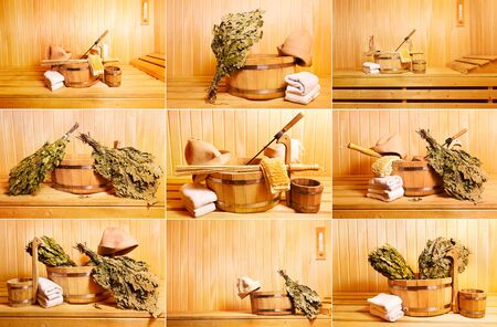 finnish bath: collage with various sauna accessories Stock Photo