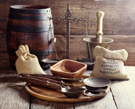 rustic kitchen: kitchen utensils on rustic wooden background Stock Photo