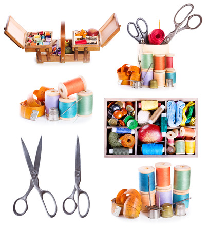 hobbies: set wit sewing accessories : old scissors, buttons, threads on white background