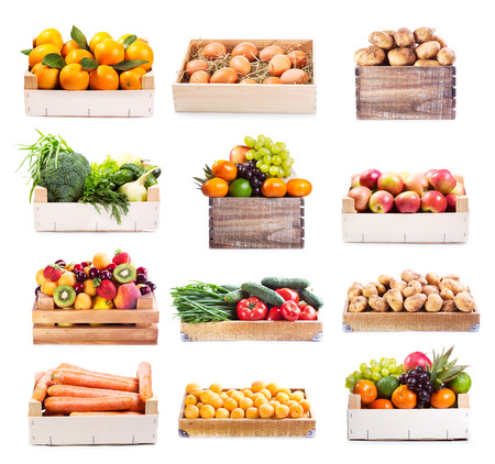 group objects: set of various fruits and vegetables in wooden box on white background