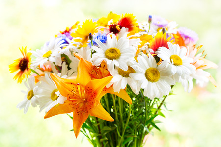 bouquets: bouquet of summer flowers on green background