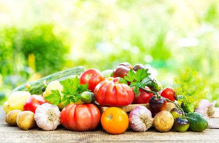 granja: varias verduras frescas en la mesa de madera en el jard�n Foto de archivo