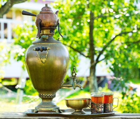 samovar: Traditional russian tea with samovar in the garden