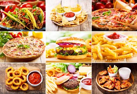 comida chatarra: collage de diversos productos de comida rápida Foto de archivo