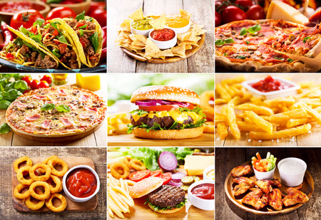 food products: collage of various fast food products