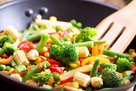 vegetable: stir fried vegetables in the pan