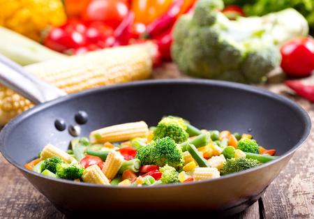 stir fried vegetables in the pan