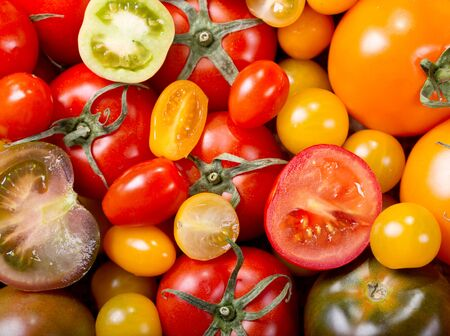 assortment: colorful tomatoes as background