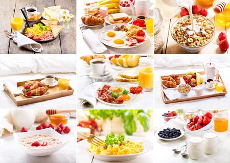 scrambled eggs: Collage de varias desayuno saludable