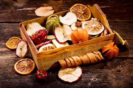 fragrant: Fragrant decoration of dried fruits on a wooden table