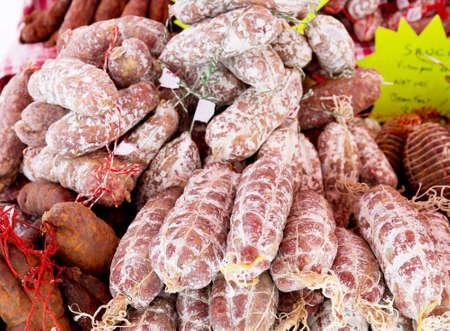 salami sausage: various salami at a market Stock Photo