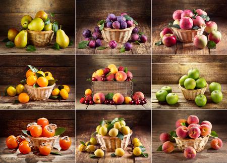 나무 테이블에 신선한 다양한 과일의 콜라주