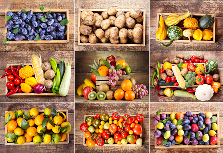 green pepper: collage of various fruits and vegetables in wooden box