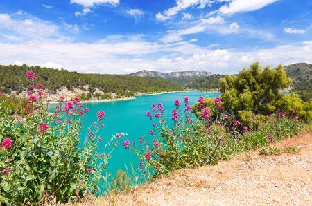 mountain landscape: landscape with mountain lake, France